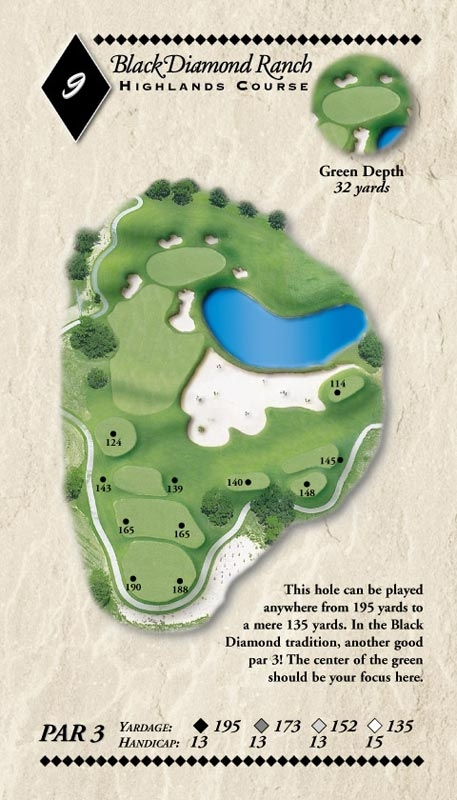Hole layout on Highlands Course at Black Diamond Ranch