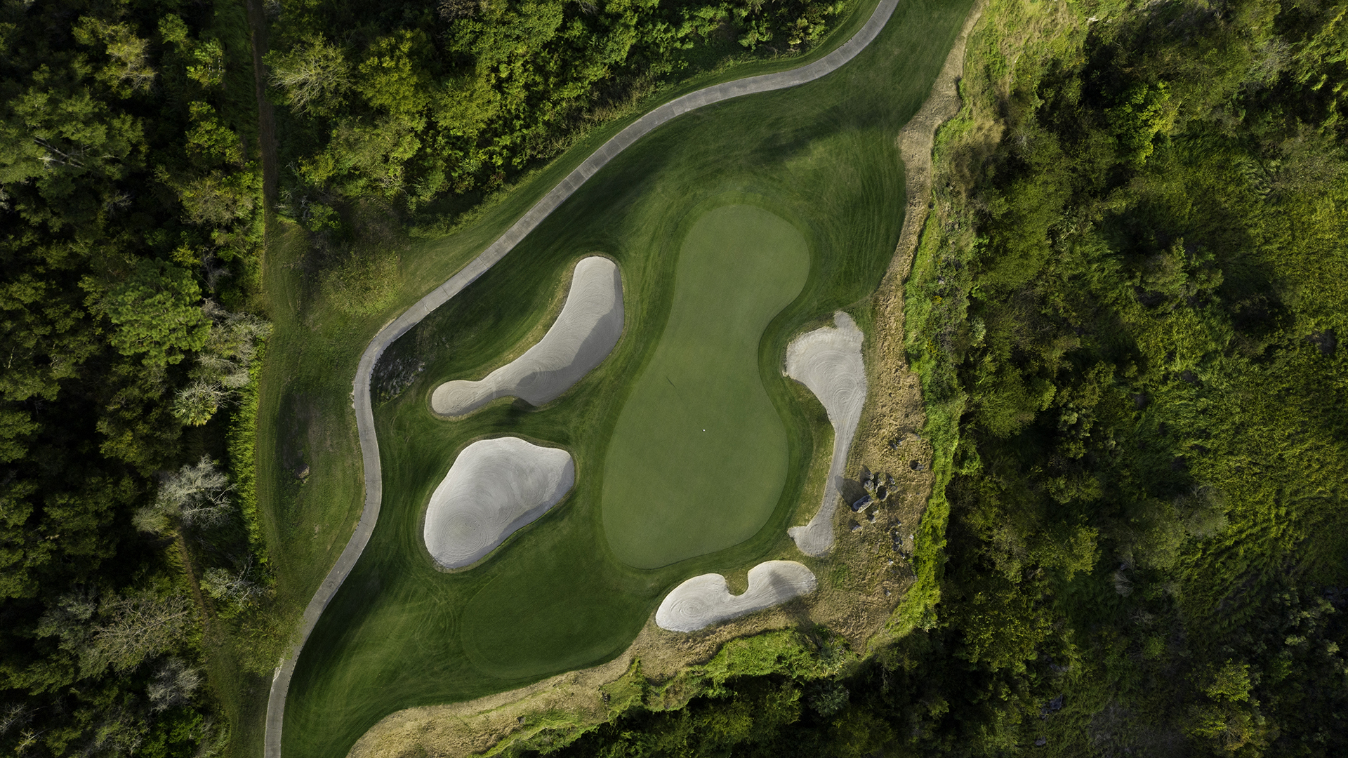 A bird's eye view of a hole at Black Diamond Ranch Country Club